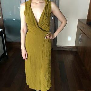 Cleobella chartreuse rayon short sleeve wrap dress